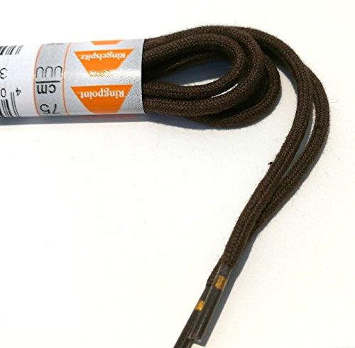 1 Par Ringelspitz Cordón marrón oscuro - rendondo - fino - Ø 2,5 mm - Marrón Oscuro, 75 cm