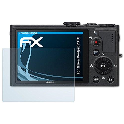 atFoliX Schutzfolie kompatibel mit Nikon Coolpix P310 Folie, ultraklare FX Displayschutzfolie (3X)
