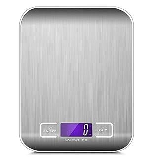 Revopow Balance de Cuisine Précision Digital,Balance de Cuisine Electronique, 5kg/11lbs, Écran LCD Rétroéclairé,Balance Alimentaire Tactile Sensible,Argenté(2 AAA Piles 1,5V)