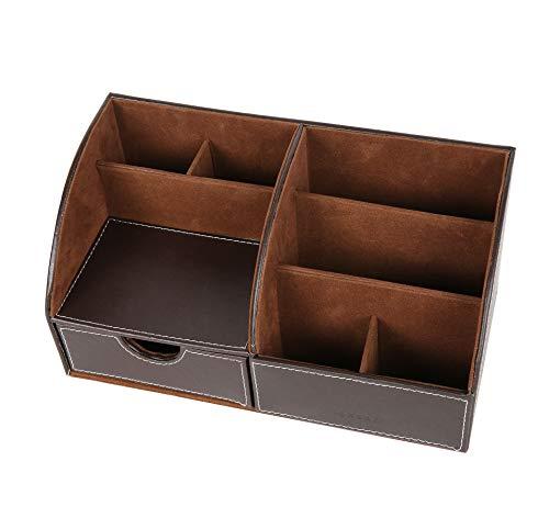 Exerz EX8077 Premium Großes Kunstleder Tisch-Organizer/Ablagesystem/Stiftehalter/Schreibtischset/Multifunktionsorganizer - Dunkelbraun