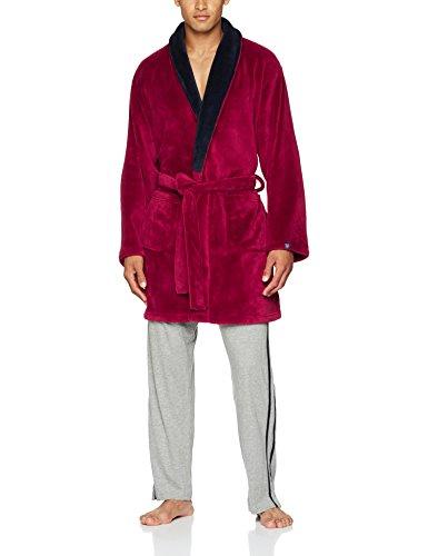 Hugh Kostüm Hefner - Arthur Herren Uni Bademantel, Rot (Bord Bordeaux), Large