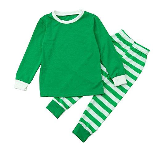 HKFV Frauen Familie passende Weihnachten Pyjama Set Bluse + Santa gestreifte Hose Weihnachtskostüm gestreift Weihnachtsanzug Kostüm (Kids-Green, 14T)