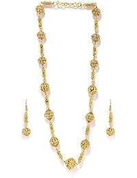 Zaveri Pearls Gold Filigree Beeds Long Necklace Set For Women - ZPFK5417