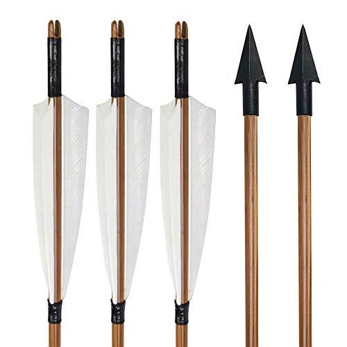 """SHARROW 6 Stück Bogenschießen Bambuspfeile mit 5"""" Naturfedern für Recurvebogen Traditioneller Langbogen Horsebow Jagdziel Übungspfeile (Typ 1)"""