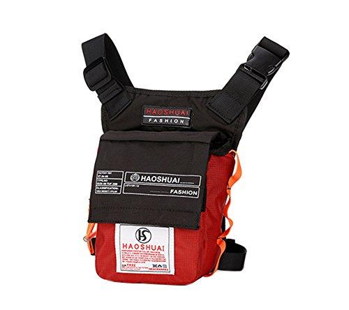 Genda 2Archer Nylon Beintasche Freizeit Oberschenkel Tasche für Outdoor-Aktivitäten (Schwarz) Rot