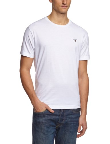 GANT Herren T-Shirt THE ORIGINAL SOLID, Gr. Small, Grau (WHITE 110)