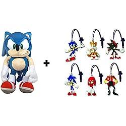 Sonic The Hedgehog peluche mochila azul 45cm + 3uds de llaveros PVC SONIC aleatorios