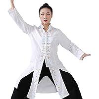SCDXJ Ropa De Uniforme De Tai Chi - Top Bordado Floral De Artes Marciales para Mujer,White-XL