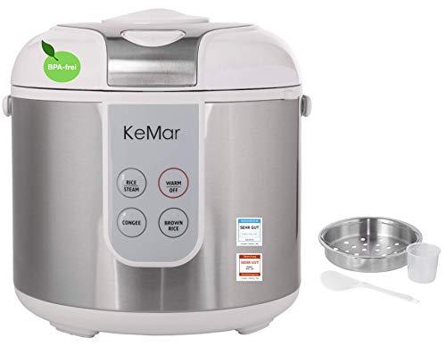 KeMar Kitchenware KRC-130 digitaler Reiskocher, BPA-frei, Brauner Reis, Naturreis, Dampfgarer, Titan Keramik Beschichtung, Edelstahl Dämpfeinsatz (Digitale Reiskocher)