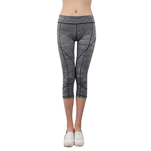 Pantalon de sport Ularmo Femmes Elasticité exercice Yoga Courir Sports Fitness Gym Pants pantalons gris foncé