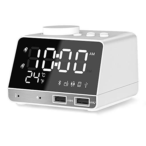 Digital Wecker,ANOLE Bluetooth Radiowecker Tisch Funk Uhr mit Bluetooth 4.2/Aux/TF-Karte/U-Disk Spielen,FM Radio,Einstellbare Helligkeit und Dual USB für iOS/Android Telefon und Tablets(Weiß)