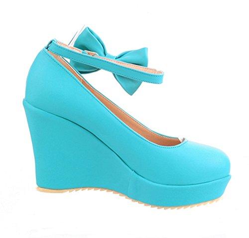 YE Damen Knöchelriemchen High Heels Plateau Pumps mit und Schleife und Keilabsatz 10cm Absatz Süß Bequem Schuhe Blau