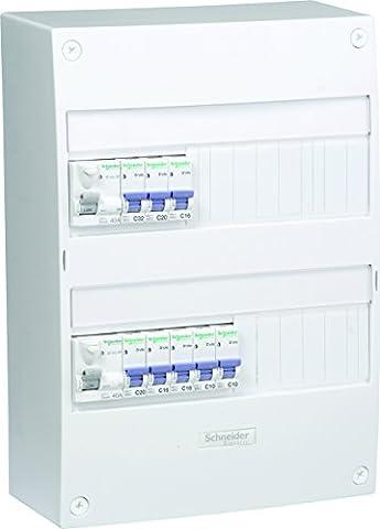 Schneider Electric SC5SHN03710067 Coffret 2 rangées 2 inters différentiels avec 8 disjoncteurs
