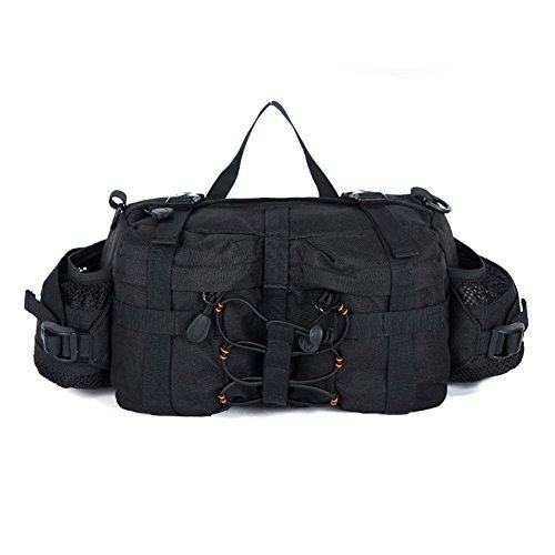 aiyuda CS Assault Multifunktional Wasser beständig Waist Pack Tasche mit Wasser Flaschenhalter für Radfahren Wandern Laufen Camping Treveling 6L schwarz - schwarz