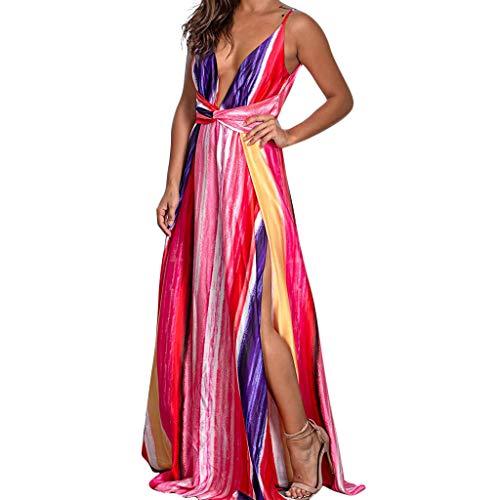 Fcostume Damen Strandkleid, Frauen Arbeiten reizvolles V Ansatz Druck Riemenpunkte Gabel ärmelloses Sommer Kleid