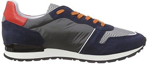 Bikkembergs Mant 650 L.Shoe M Nylon/Suede, Pompes à Plateforme Plate Homme Multicolore (Blue/Grey/Orange)