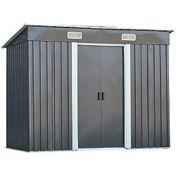 Abri de Jardin en métal galvanisé Cabane à Outils 5.67m³ pour Rangement Outils 2 Portes coulissantes