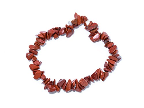 Taddart minerals - braccialetto splitter rosso marrone in diaspro naturale montato su filo di nylon elastico - fatto a mano.
