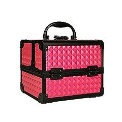 Idea Regalo - Beauty Case con Specchio per Estetista, Organizzatore Trucco Make Up Smalto Oggetti Pennelli Trucchi Cosmetici Cofanetto Bagaglio a Mano, 19.5 x 15 x 16 cm Rosa, Uuhome