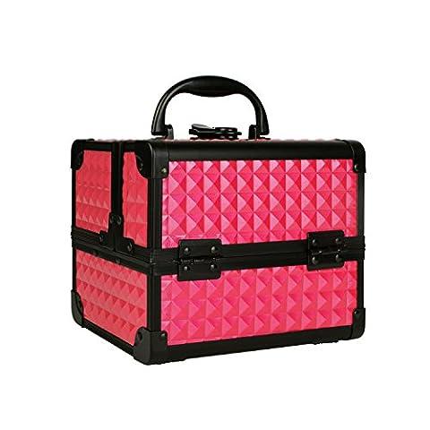 Coffret à Maquillage Professionnelle, Organiseurs Boîte à Bijoux Cosmétique Beauty Case Avec Miroir Make Up, 19.5x15x16cm Rose, Uuhome