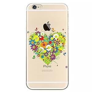 """Sunroyal Custodia per iphone 6 6s, Trasparente Chiaro Morbido TPU Gel Silicone Protettivo Skin Custodia Protettiva Shell Case Cover Per Apple iphone 6 6s 4.7"""" (cuore del fiore)"""