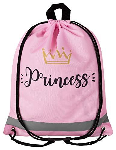 Aminata Kids - Kinder-Turnbeutel für Mädchen mit für Princess Königin König-s-Krone Tiara Prinzessin Sport-Tasche-n Gym-Bag Sport-Beutel-Tasche rosa Gold Bedruckt-er... -