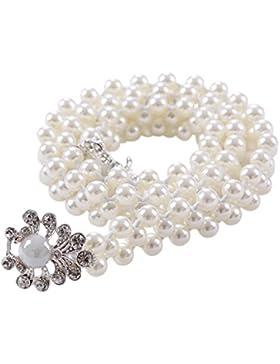 Sitong Mujeres Perlas Rhinestone Cinturón Elástico De Hebilla (Pearl Hebilla)