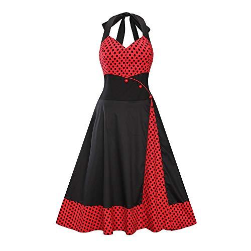 OIKAY Neckholder Rockabilly 1950er Polka Dots Punkte Vintage Retro Cocktailkleid Petticoat Faltenrock (Vintage Neckholder Kleid)