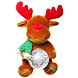 Elch braun rot mit LED Schneekugel und Musik Jingle Bells Rock ca. 27 cm