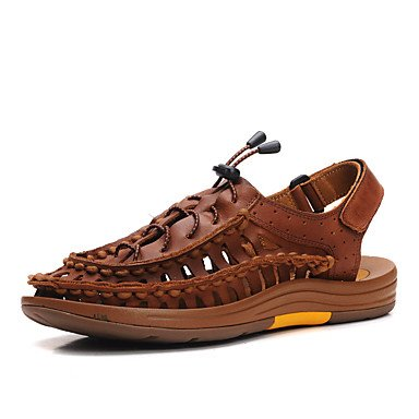 Herrenschuhe Outdoor/Casual Nappa Leder Sandalen Braun/Gold Brown