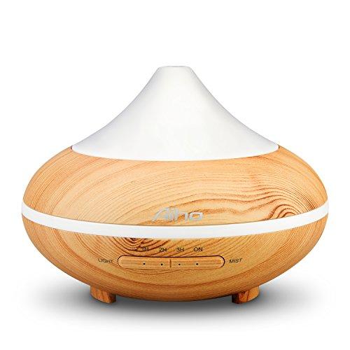 Aroma Diffuser Aiho 200ML 5-IN-1 Utraschall Luftbefeuchter Oil Düfte Humidifier Aromatherapie Diffusor Holzmaserung 7 Farbwechsel Duftlampe Elektrisch 4 Zeitmodi Einstellbar für Schlafzimmer Büro Yoga SPA
