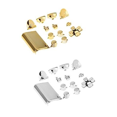 Gazechimp Verchrom Tasten Buttons + Touchpad Für Playstation 4 PS4 Controller , Gold mit Silber