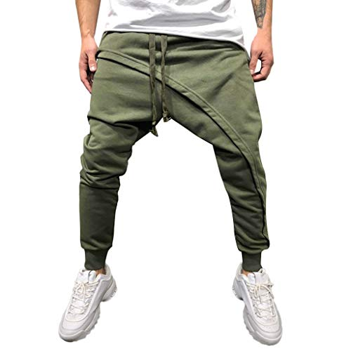 Dragon868 Pantaloni Uomo Cotone Pantaloni Cavallo Basso Irregolare Slim Fit metà Vita Elastico Pencil Pants