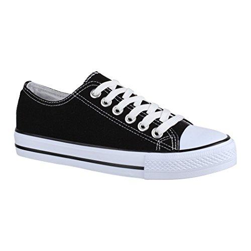 Elara Unisex Sneaker | Bequeme Sportschuhe für Damen und Herren | Low top Turnschuh Textil Schuhe NoN-XG200 Black-39