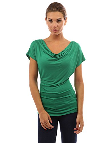 PattyBoutik Damen Wasserauschnitt Bluse mit Kurzen Ärmeln Grün