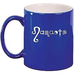 Ceramic Coffee Tea Mug Cup Namaste Yoga Om Ohm (Blue) by MIP
