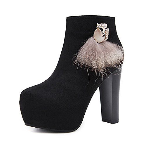HSXZ Scarpe da donna in similpelle di caduta di primavera Comfort novità moda Stivali Stivali Bootie Stiletto Heel Round Toe Rhinestone Crystal per matrimoni Black