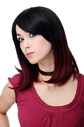 WIG ME UP ® - H9705-2F118 Peluca calidad mujer dama lisa ombre mezcla negra roja hasta los hombros liso