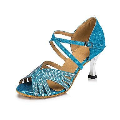 Scarpe da ballo-Da donna-Balli latino-americani / Moderno / Salsa-Tacco su misura-Di pelle / Brillantini / Paillette-Blu Blue