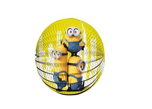 Minions Laternenset Ballon-Laterne mit elektrischem Laternen-Stab ca. 49cm und Papier-Lampion ca. 25cm für Kinder
