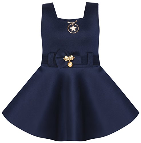 BENKILS Cute Fashion Baby Girl's Soft Skuba Party wear Frock Dress for (Blue, 6-12 Months)