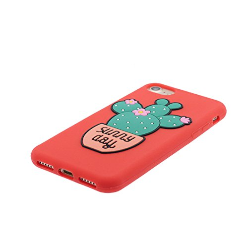 "iPhone 6 / 6s Coque Case 4.7"", TPU Material Flexible iPhone 6S Étui iPhone 6 Cover [Choc à l'épreuve] [ 3D Cartoon cactus Les épines ] [ Pretty Soft ] & ring Support rouge"