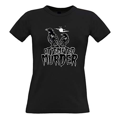 Halloween Frauen T-Shirt Mordversuch Crow Pun Black X-Small