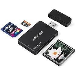 KiWiBiRD USB 3.0 (3.1 Gen 1) Lecteur de Carte Super Rapide 9-en-1 pour Cartes CF (UDMA), SDXC, SD, MMC, RS-MMC, SDHC, Micro SD, Micro SDXC, Micro SDHC [Soutient les Cartes UHS-I ] – Noir