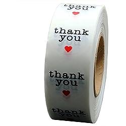 """Rollo de pegatinas redondas con impreso """"Thank You"""" 1000 pegatinas por rollo"""
