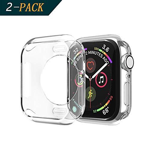 Cerike (2-Pack) Apple Watch 40mm Series 4 Hülle, Ultra Schlank Dünn TPU Gel Gummi Weiche Haut Silikon Schutzhülle Abdeckung Case Cover für Apple Watch Series 4 (40mm, Klar)