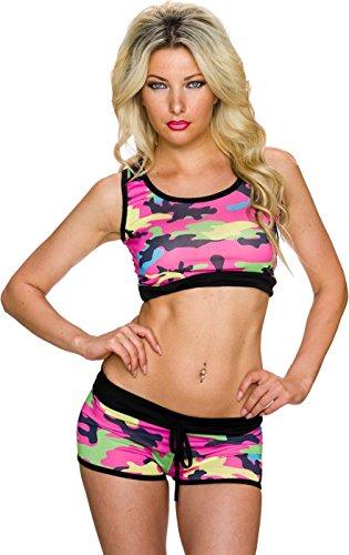 Damen Sport BH Bustier Top Shirt Bauchfrei Panty Shorts Freizeit Camouflage 34,36,38. Pink -