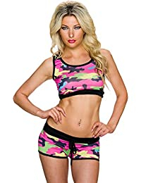 Sports Bra Top Bustier shirt Belly femmes gratuit Panty Shorts Loisirs Camouflage 36,38,40.