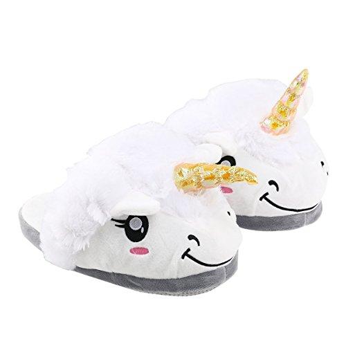 Zapatillas-Unicornio-Blanco-Para-Adultos-UMmaid-Deslizamiento-en-la-Casa-Zapatillas-Mujer-Zapatillas