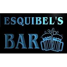 Cartel Luminoso w006629-b ESQUIBEL Name Home Bar Pub Beer Mugs Cheers Neon Light Sign